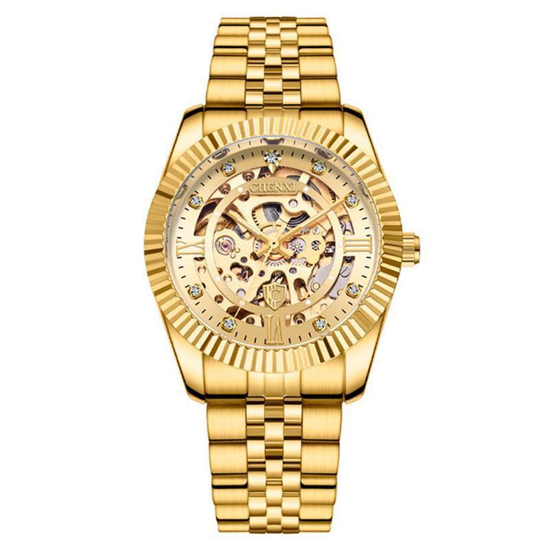 Venda Quente Chenxi Homens Gold WristWatch Masculino Automático Aço Inoxidável Aço Inoxidável Assista Esqueleto Hollowout Relógio Esportes Relógios Masculino Presente
