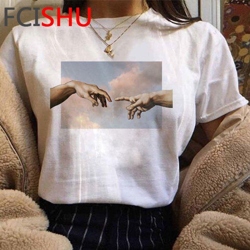 Yeni Michelangelo Komik Karikatür Tshirt Kadınlar Grunge Estetik El Baskı T-Shirt Grafik Boy Tişört Rahat Üst Tees Kadın C0220
