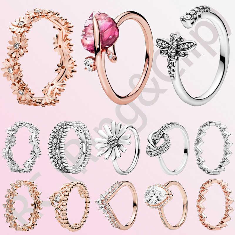 Classic 100% 925 Sterling Sier Princess Tiara Crown Shelleling Love Heart Cz Anillos para mujeres Compromiso Joyería Aniversario