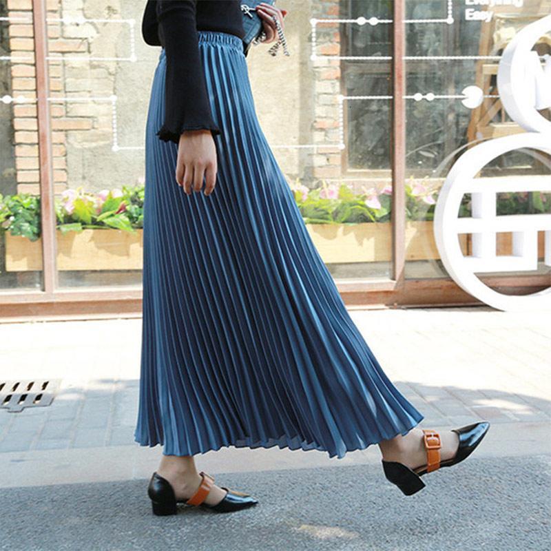 Женская осенью шифон плиссированная длинная юбка с высокой талией твердые макси с максимальным максимум женщин 2019 зима мода повседневная длинные юбки для женщин v191111