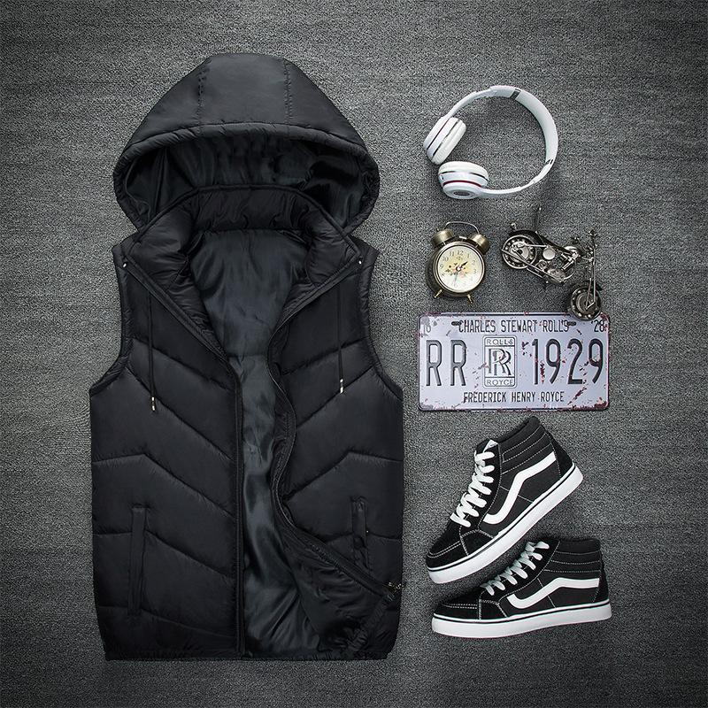 Chalecos para hombre Chaleco acolchado de algodón con sombrero desmontable chaqueta sin mangas de gran tamaño abrigo cálido ligero para hombres chaleco hombre