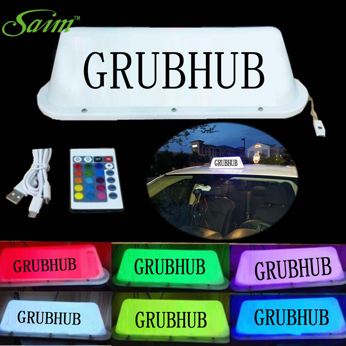 GRUBHUB Taxi Top Light LED Roof Bright Glowing Car Logo Wireless Sign TOP light for TAXI DRIVERS