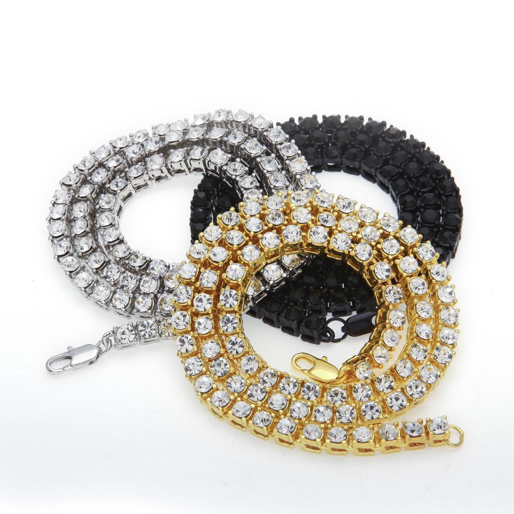Мужской хип-хоп Bling leced Out out Теннисная цепь 1 ряд Ожерелья дизайнер Золотые мужчины цепят хип-хоп рок ожерелье 24 дюйма бесплатная доставка