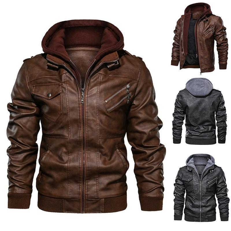Herren Hoodies Sweatshirts Mäntel Bomber Black Hood Slim Outwear Biker Fit Casual Herren Vintage Abnehmbare Jacke Leder Motorrad Herbst PU
