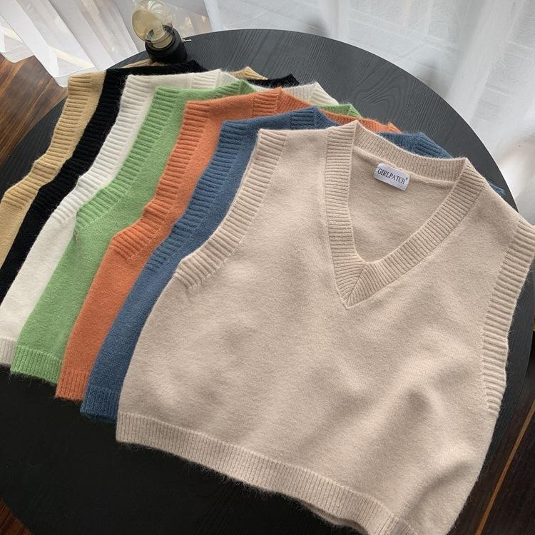 2020 Otoño Retro Color Sólido Peluche Velvet V-Cuello de Lana Punto Chaleco de Punto Mujer Alta Cintura Corta I-sshaped Suéter sin mangas Chaleco
