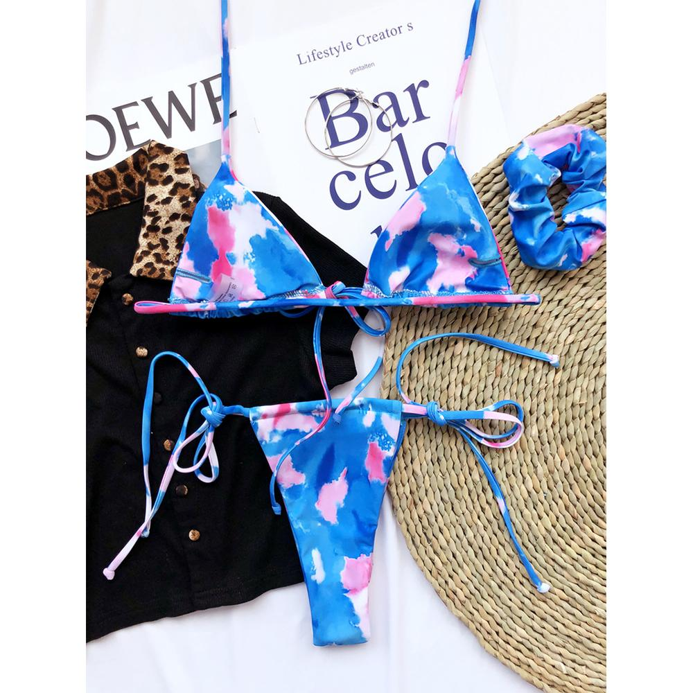 2021 Sexy Bandage Bikini Women Print Bikini Set With Hair Ring Swimsuit Female Halter Push Up Swimwear Bathing Suits Beach Wear