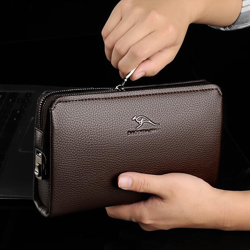 Business Portafoglio da uomo Pochette da uomo Anti-furto Password Block Bag Block Uomo Zipper Pelle Portafoglio Telefono di lusso a portata di lusso Billetera