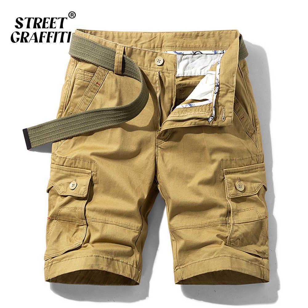 Men's 100% Cotton Military Cargo Shorts 2021 New Spring Summer Men Casual Male Loose Breeches Bermuda Multi-Pocket Short Pants X0601