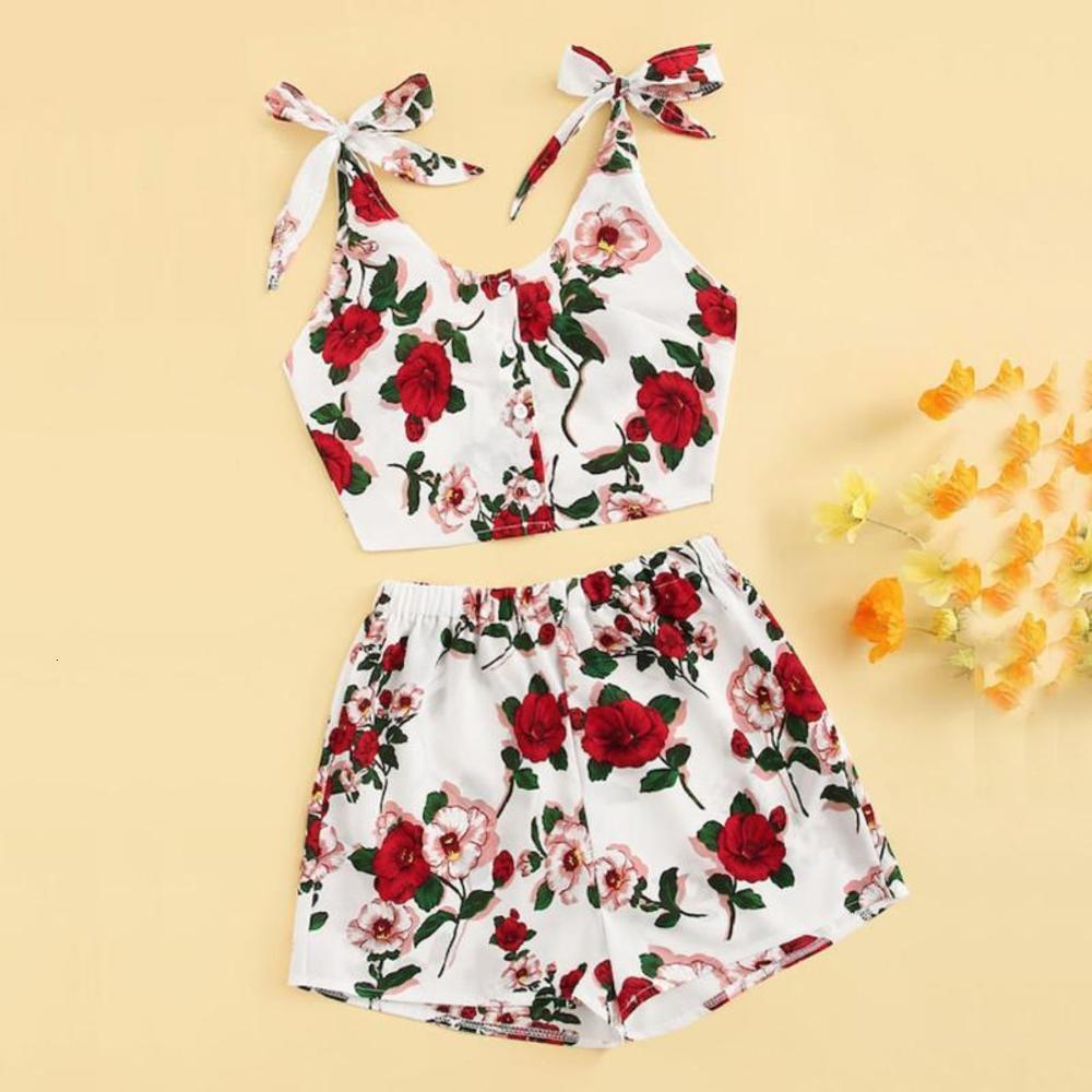 2pcs Moda Donna Casual Suit Floral Print Stampa Knot Crop Top Vest + Shorts Set Summer Style Donne Abiti Due pezzi SET Set # 0425