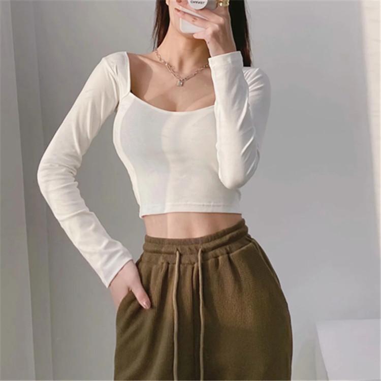Camiseta de manga larga atractiva para mujer A1121