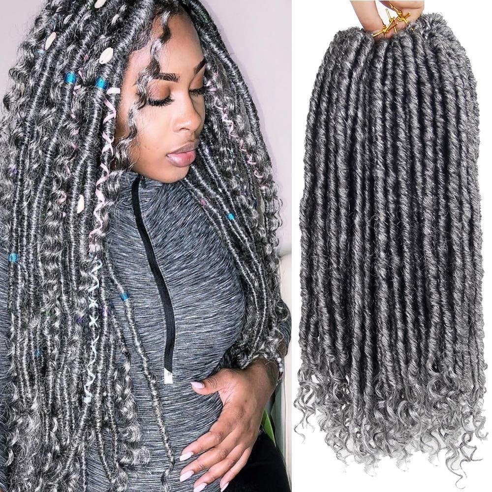 2021 1 stücke Göttin locs Häkeln Dreadlocks Haarverlängerungen Kanekalon Jumbo Dreads Frisur Ombre Curly FauxLocs Häkeln Sie Geflechten (1b-grau)