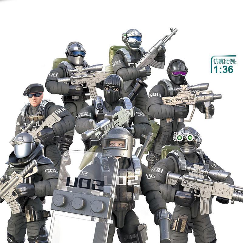 military figures ww2 SWAT German army soldier world war 1 i ii 2 weapon sets model building blocks ww1 US warfare bricks kits X0127