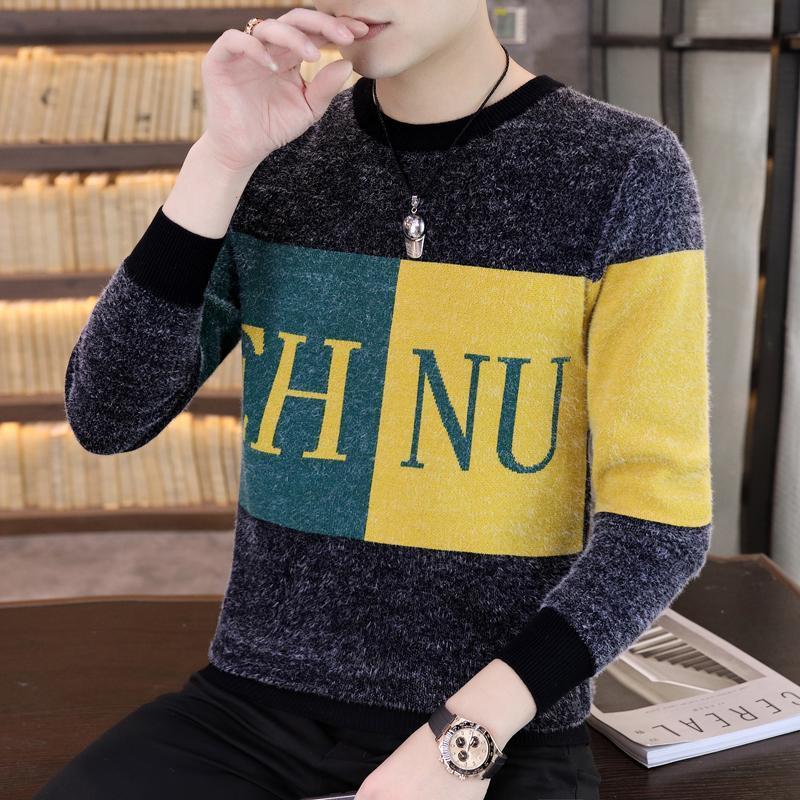 Мужские свитера Зима простой ветер свитер Trend Color Collection буква круглая шейка Easy Match Ward Base для похудения вязание мужчин