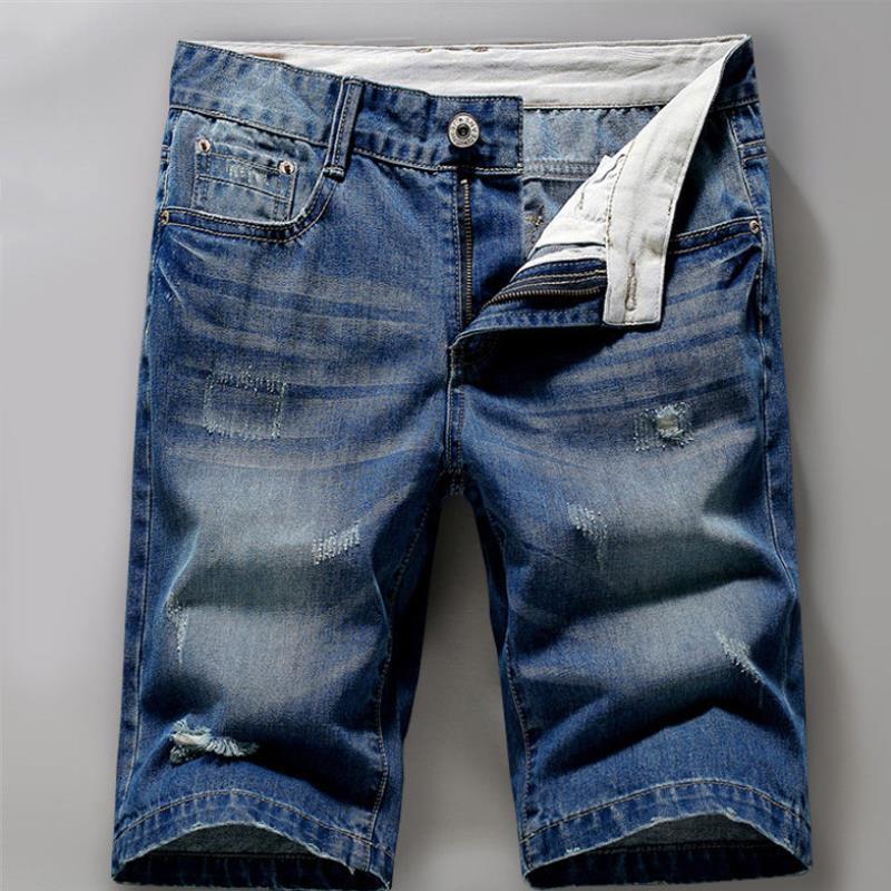 Pantalones cortos de Songzi de los pantalones cortos de los pantalones cortos de los hombres de la primavera y del verano Capris Straight Tube Amplia versión coreana de pantalones de calzones rotos