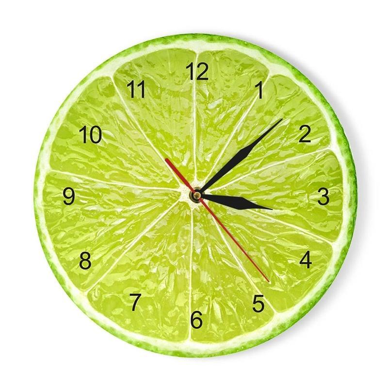 Reloj de pared de frutas de limón naranja en la cocina Lima Pomelo Diseño moderno Relojes Mire el reloj Decoración para el hogar Arte de la pared Horologe Non Ticking 210310