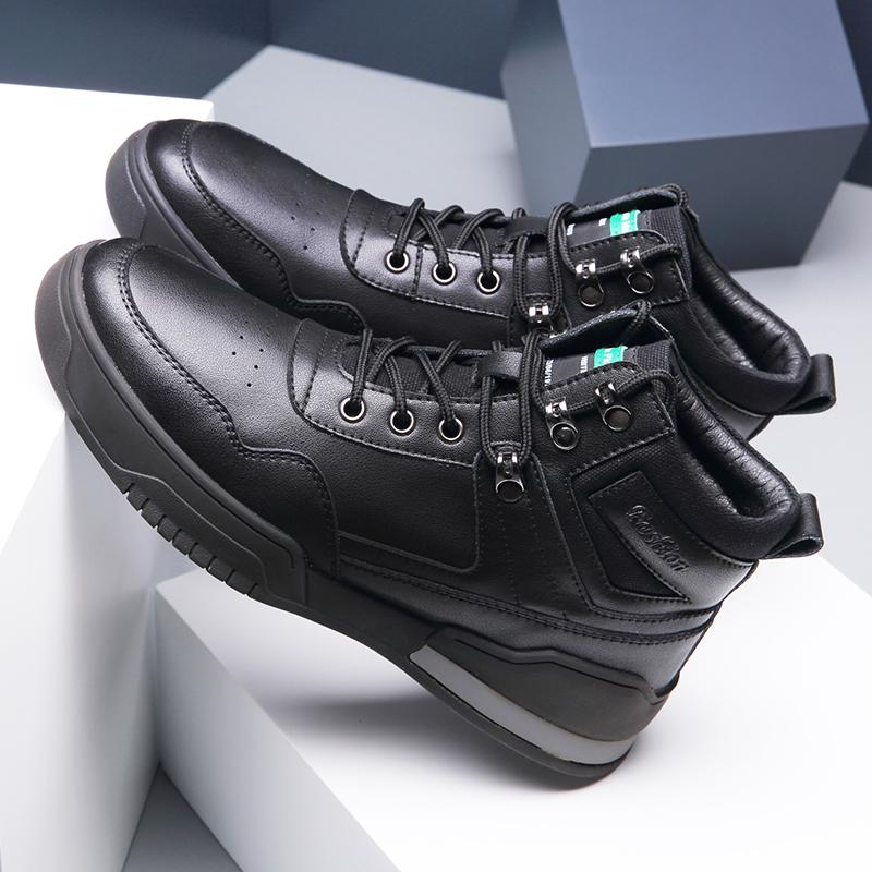 2021 Winter Cold-proof Men Shoes Genuine Leather Hight Top Fur Wear-resistant Men Casual Outdoor Shoe Waterproof Sneaker