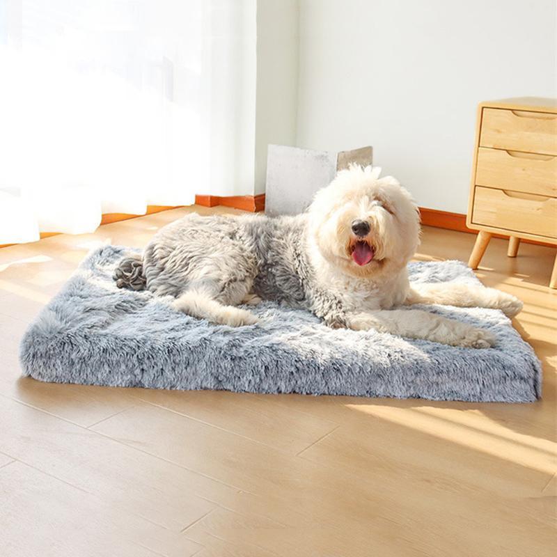 Cama para cães para grandes cães Luxo Longo pele pelúcia pet cama almofada 3d memória espuma colchão para animais de estimação para gatos cães cuddler capa removível 210224
