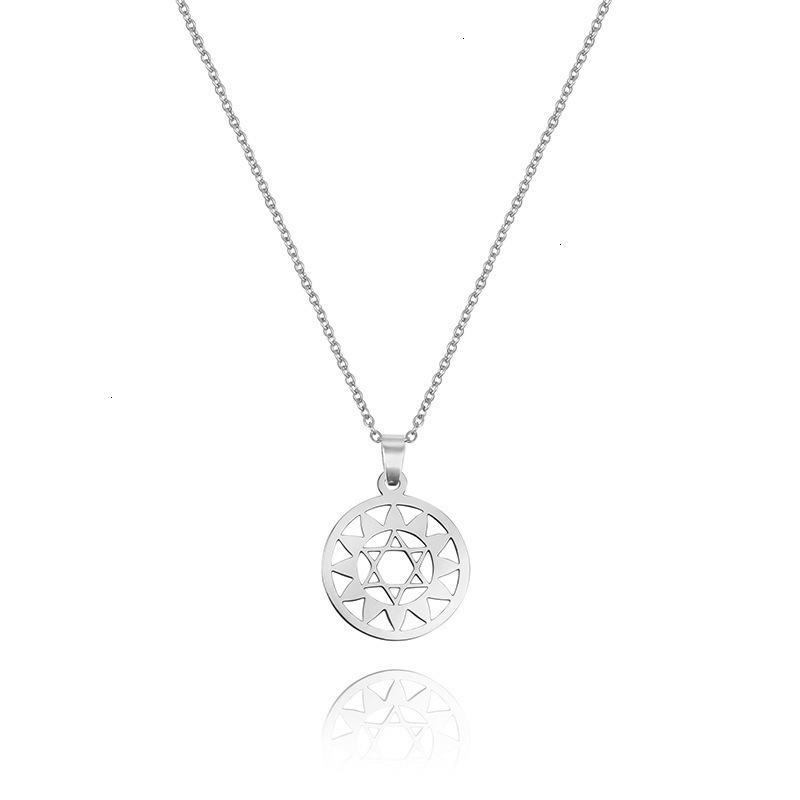 70% скидка с модным и универсальным солнцем из нержавеющей стали шесть остроконечных звезд полые ожерелье женские геометрические подвески ZR1J