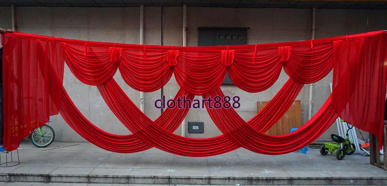 6M (20ft) wide swags for backdrop party decoration background valance wedding backcloth stage curtain (10ft*20ft) backdrop widraps decorations love heart stylist