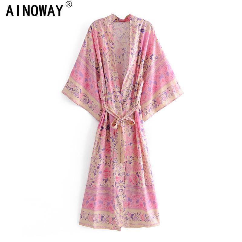 Женские блузки рубашки розовые цветочные принты женщины винтажные ютные богемные кимоно дамы V-шеи Batwing рукава Boho Maxi платье халат