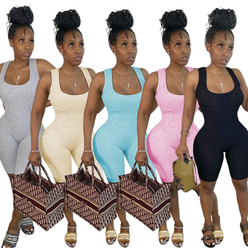 Summer clothes Women shorts Jumpsuits fashion letter Rompers skinny vest bodysuits Casual tank top Overalls black short pants DHL SHIP 4579