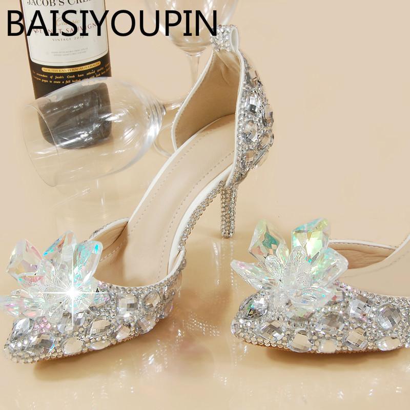 Kleid Schuhe Frauen Kristall Farbe Rote Braut Hochzeit Zwei Stücke Ein Wort Schnallen Strass Armbänder Große Größe 33 40