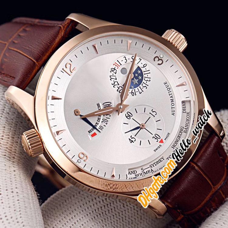 Новый Master Control World Geographic Q1508420 Q1528420 Белый циферблат автоматические мужские часы Луна фазовый заповедник Rose Gold Кожа Q1522420