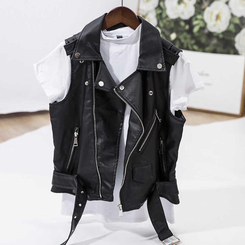 Chaqueta de chaleco de piel de piel sintética punk Mujeres sin mangas motocicleta chaquetas chalecos negro chaleco retro fresco fresco cremallera abrigo corto 4xl