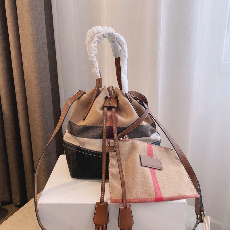 Canvas Plaid Handbag Classic Bucket Bag Wallet Composite Fashion Crossbody Bags Genuine Leather Top Handle Totes Waterproof Linen Long Shoulder Strap