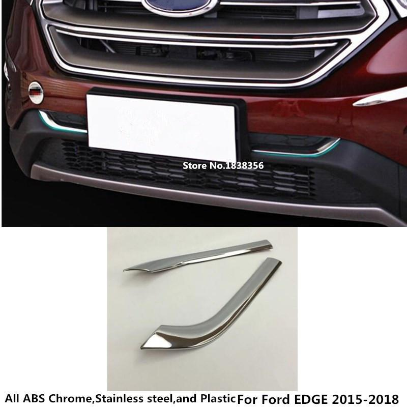 Ford Edge 2015 2016 2017 2018 자동차 스타일링 ABS 크롬 레이싱 베젤 트림 프론트 그리드 그릴 그릴 라이센스 플레이트 프레임 부품 2pcs