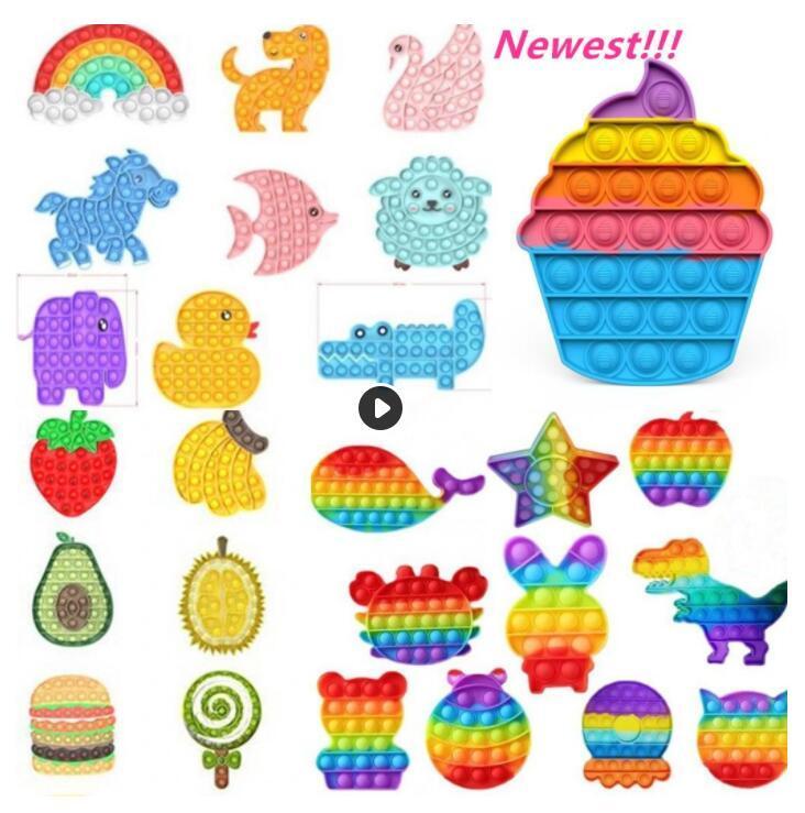 2021 Tiktok DHL Rainbow Push Hidget Toy Sensosory Push Bubble Fidget Sensory Autism Специальные нужды Беспокойство Стресс Reliver для Office Fluorescen Stock