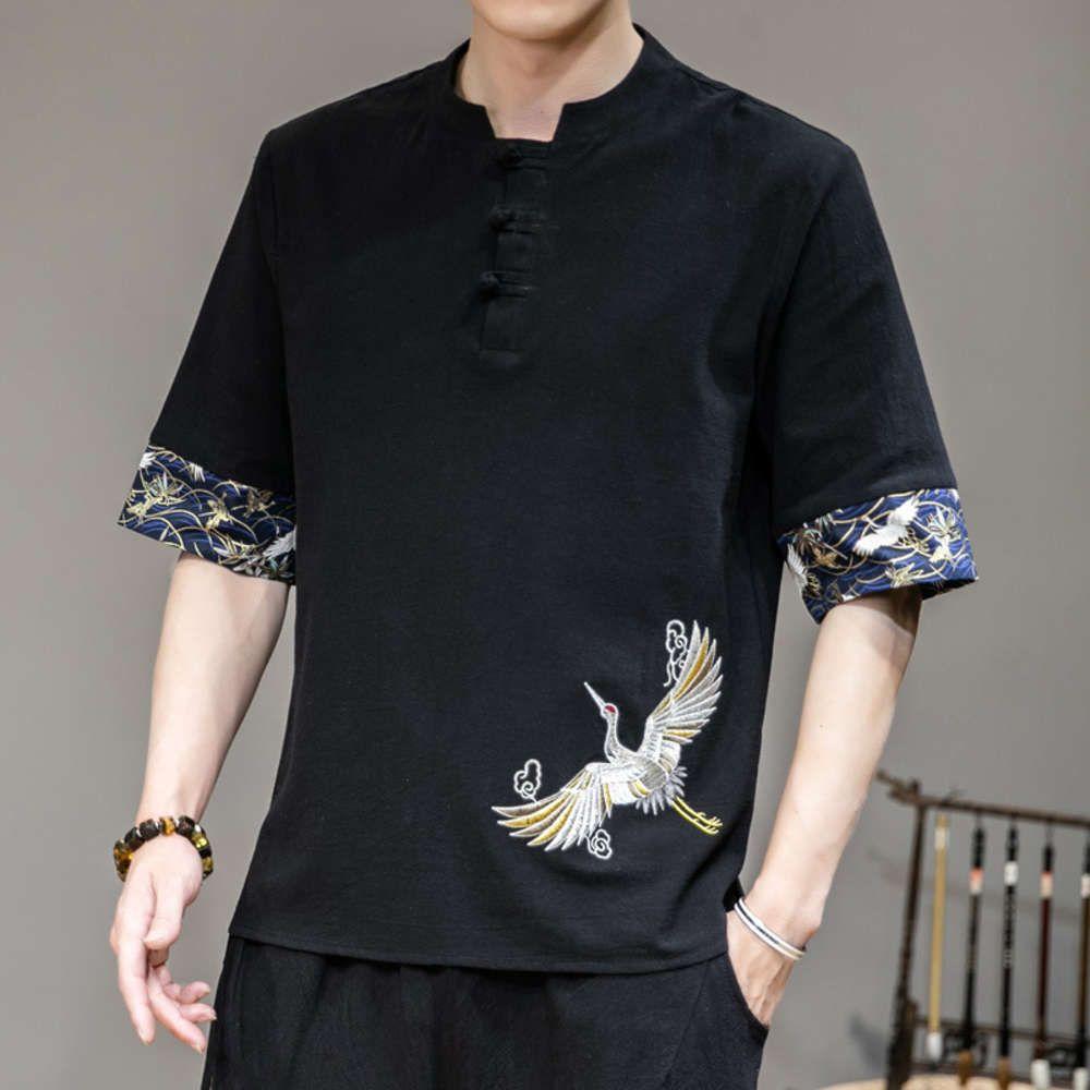 Broderie de grue de style chinois Bouton de style chinois T-shirt T-shirt à 5 manches pour hommes Tendance à manches courtes