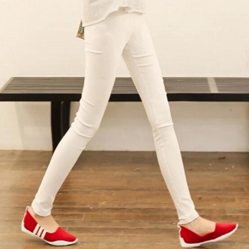 Hohe Taille Frauen Leggings Weiße Schwarze Stretchhose Für Frauen Frühling Herbst Atmungsaktive solide dünne Hose Weibliche Plus Größe