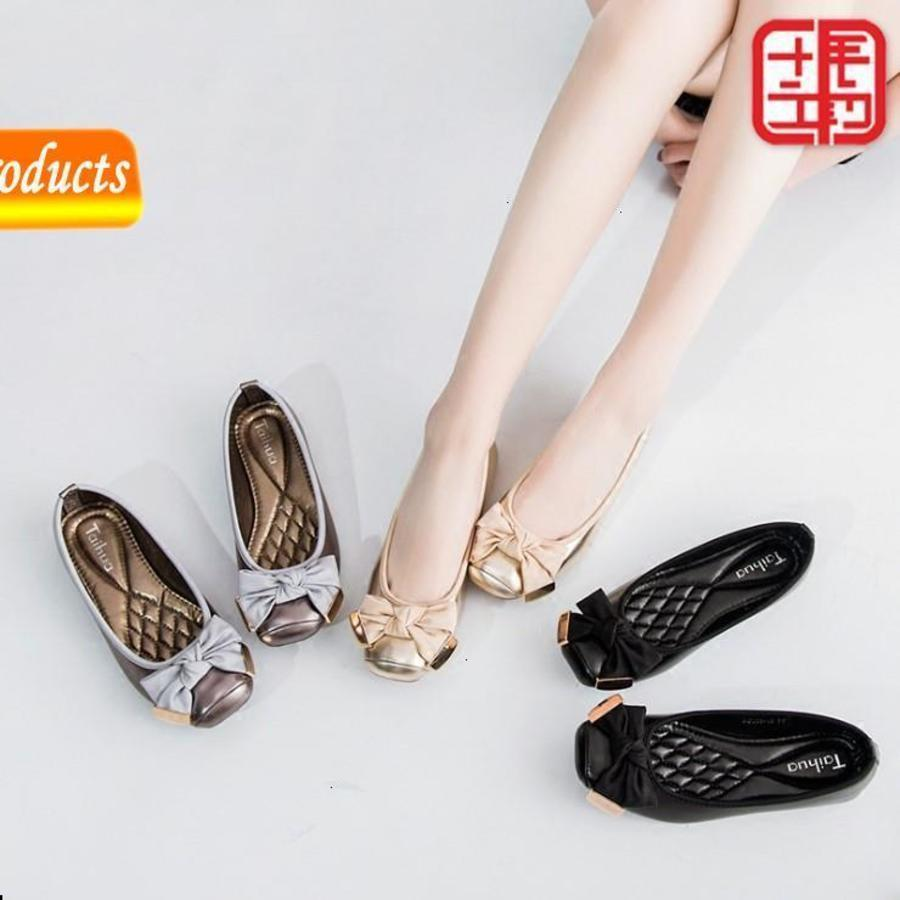 2020 Bow Square Square Ballet Sweet Ballet Suave Been Frijol Single Ladle Otoño Zapatos GNXV