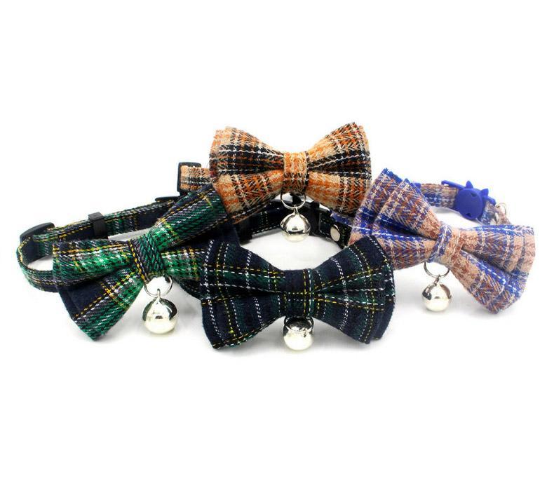 Toptan köpek ayarlanabilir papyon yaka yaka boyun aksesuarı kolye yaka İskoçya ızgara parlak renkli pet papyon çanları