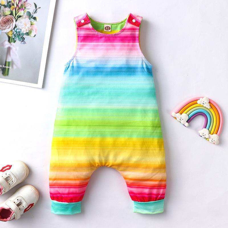 0-18m Neugeborene Baby Mädchen Strampler Kleidung Sleeveless Rainbow Print Strampler Jumpsuit Baumwolle Sommer Baby Mädchen Kleidung