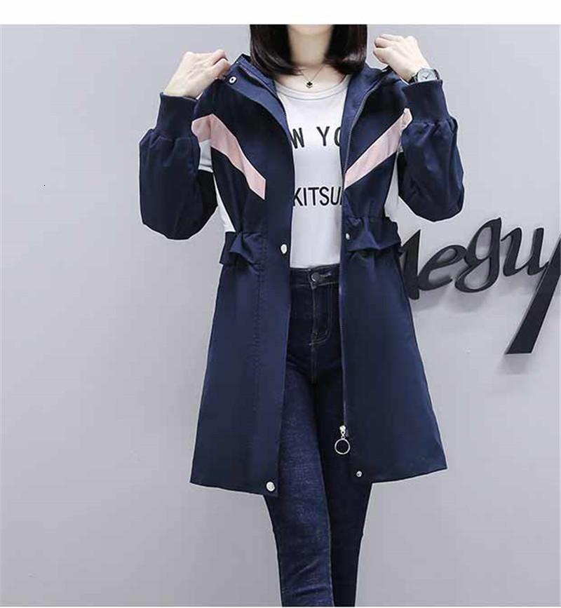 Moda 2021 Yeni Kollu Trençkot Kadın Bahar Sonbahar Giyim Rahat Kapüşonlu Uzun Rüzgarlık Kadın Paltolar NKT1