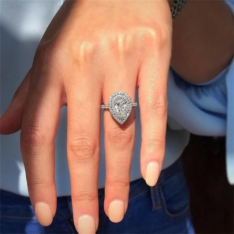 قطرة الماء وعد حلقة 925 فضة خاتم الخطوبة الكمثرى قطع الماس الزفاف الفرقة خواتم للنساء مجوهرات 16 R2