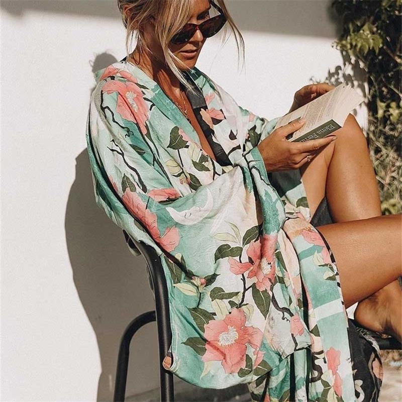 Grüne Vintage Retro Nachtgarde Print Boho Maxi Kimono Hemd Ärmel Strickjacke Böhmische Lange Wrap Bluse Sommer Tops Beachwear 210225