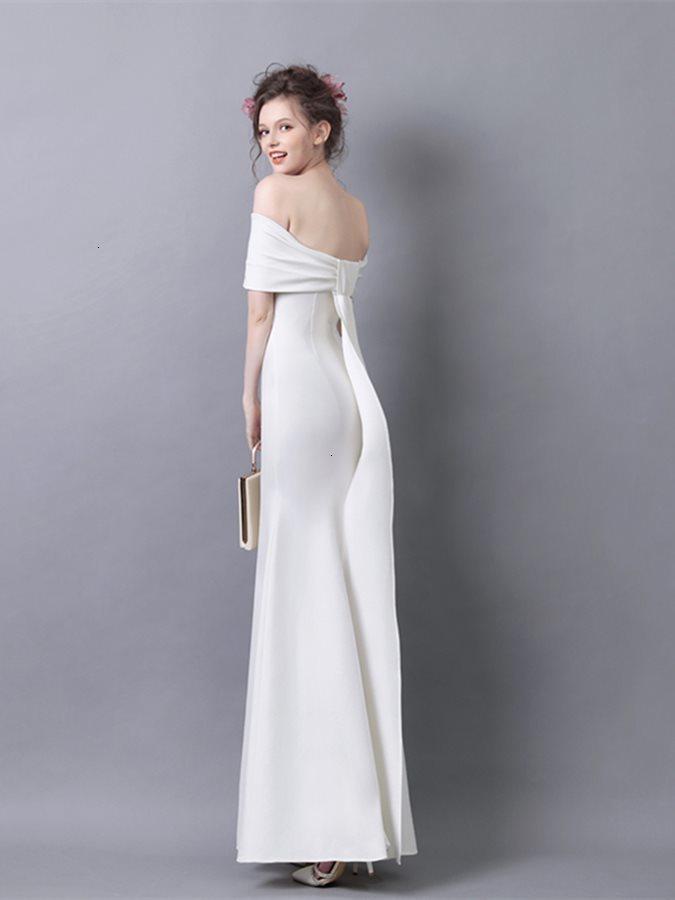 DE 2021 Robe Soiree новый с плеча атласного вечера с бантом задние банкетные платья Party Formate Es Abiye Abendkleider Qegk
