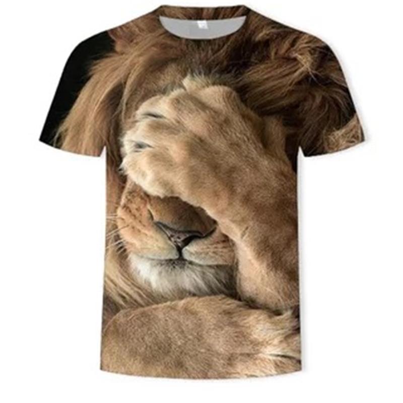 Venta caliente camiseta animal hombres / mujeres 3D león king t shirt impresión digital diseñada con estilo de verano deportes de manga corta tops