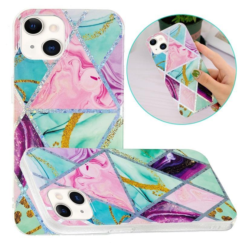 Cas laser de marbre géométrique de mode pour iPhone 13 Pro Max Mini Samsung A32 A22 S21FE Coeur Coeur Fleur Leopard Hybrid Soft TPU TPU TPU IMD Couverture métallique chromée