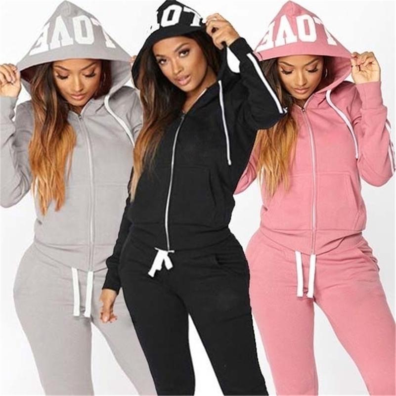 Autumen Два куска набор трексецжиц для женщин наборы влюбленности печатать капюшон куртка брюки толстовка набор женский спортивный костюм для женщин одежда 201203