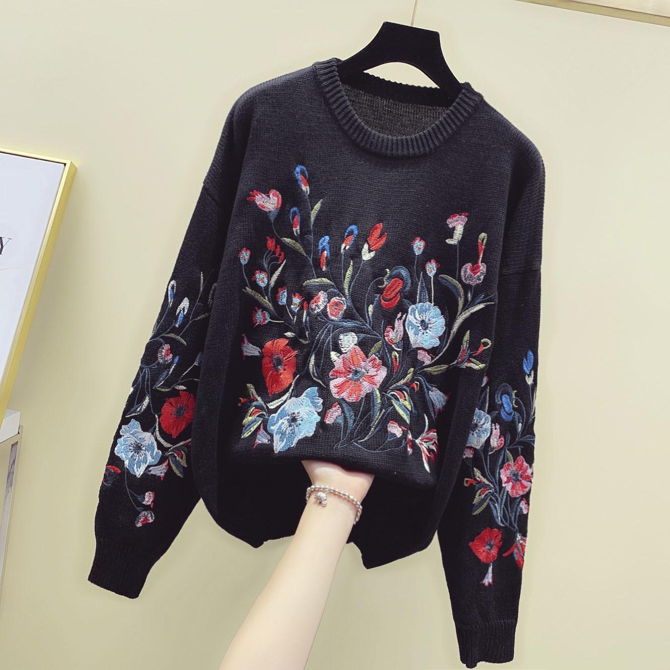 Siyah Örgü Bağbozumu Jumper Bayan Çiçek Ağır Sanayi Nakış Gevşek İnce Örme Kazak Üst Kazak Kadın İnce Swe VQ4D