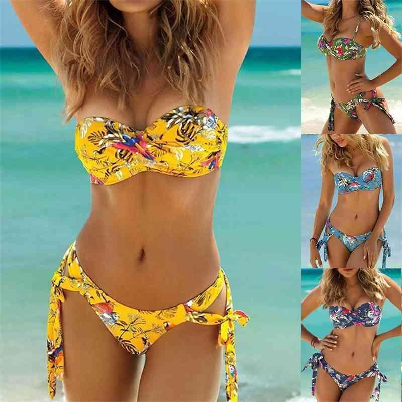 Kadın Mayo Çiçek Baskı Bikini Mayo Kadınlar Push Up Bandeau Iki Parçalı Mayo Brezilyalı Biquini Kadın Yüzmek Giyim 5ZN0