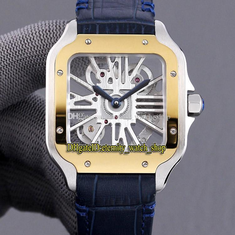 İskelet Dial İsviçre Otomatik Mekanik Erkek İzle 316L Çelik Kılıf Deri Sonsuzluk Saatler 0007