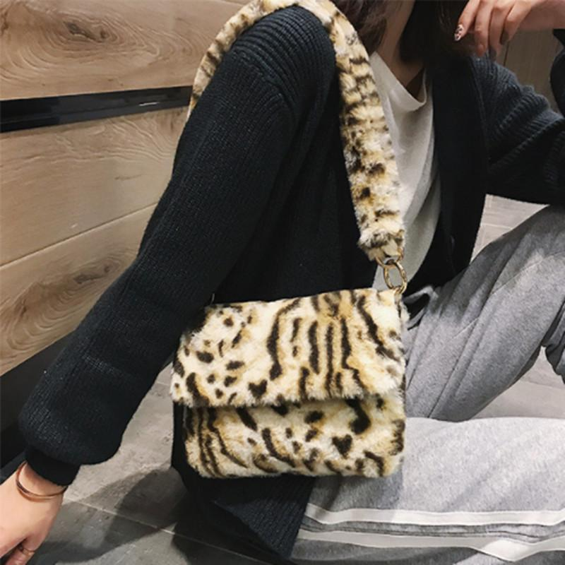 Mujer leopardo estampado regalo pelaje lady bolso bolso bolso hombro pequeñas niñas cruz cuerpo fiesta femenino de lujo navidad sintio # 55 uelnv