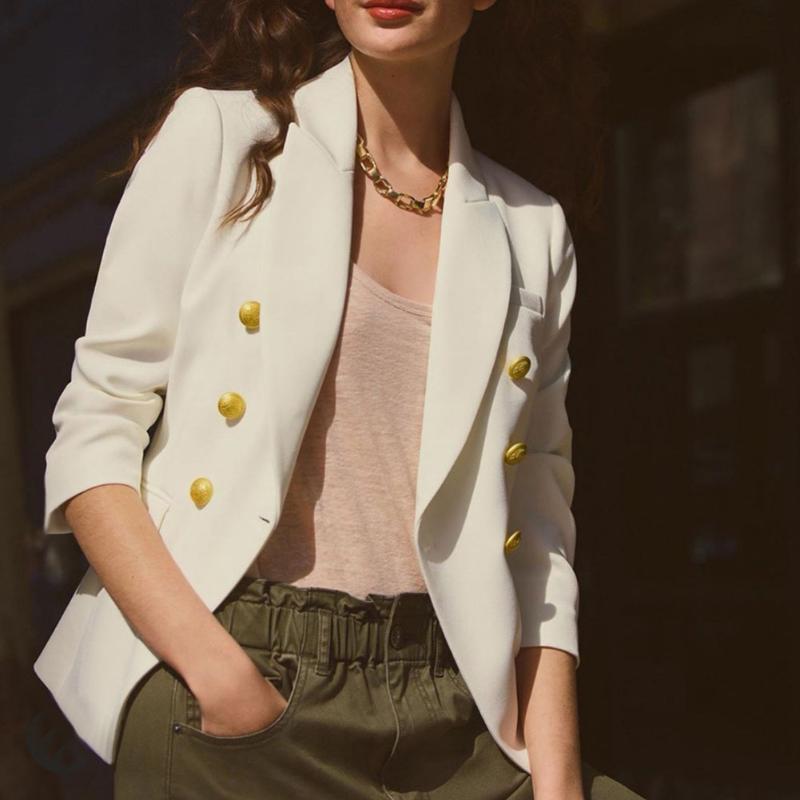 Solid Slim Otoño Mujer Chaqueta elegante de una sola oficina de trabajo de la lady Winter Winter Coat 2021 Moda Outwear Femme Veste