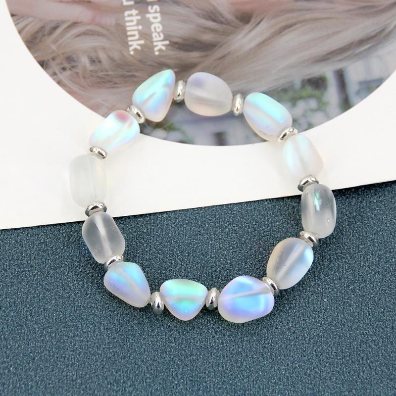 Pulseira de cristal encantador para mulheres, jóias de moda de luxo, azul quadrado de cristal pulseira elástica, novo 2021 para namorada