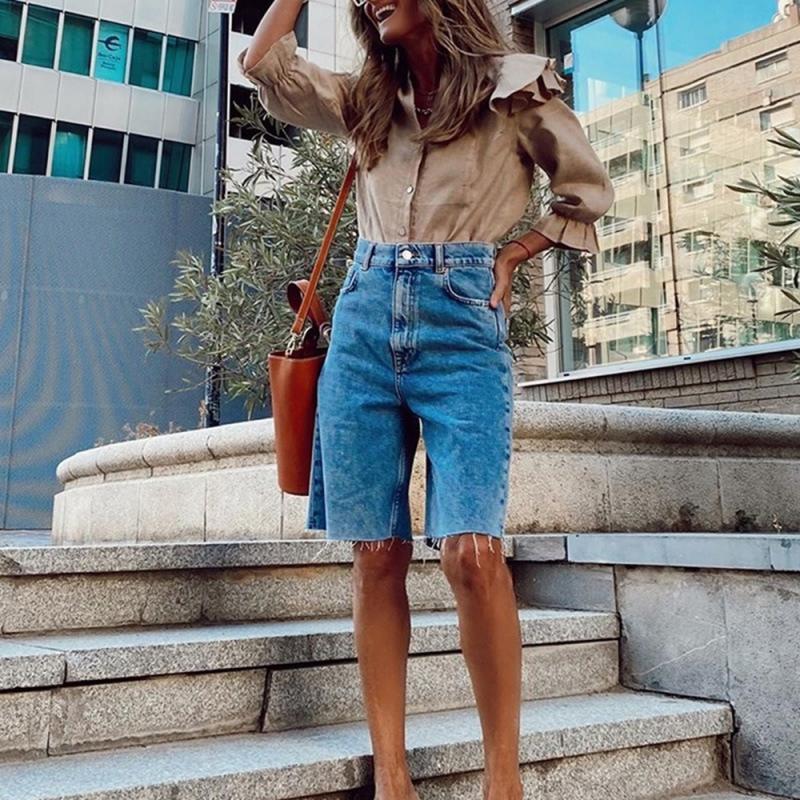 Jeans mulheres denim shorts casual clássico azul cintura alta cintura feminina calça jeans senhoras vintage reto 2021 calças de denim verão